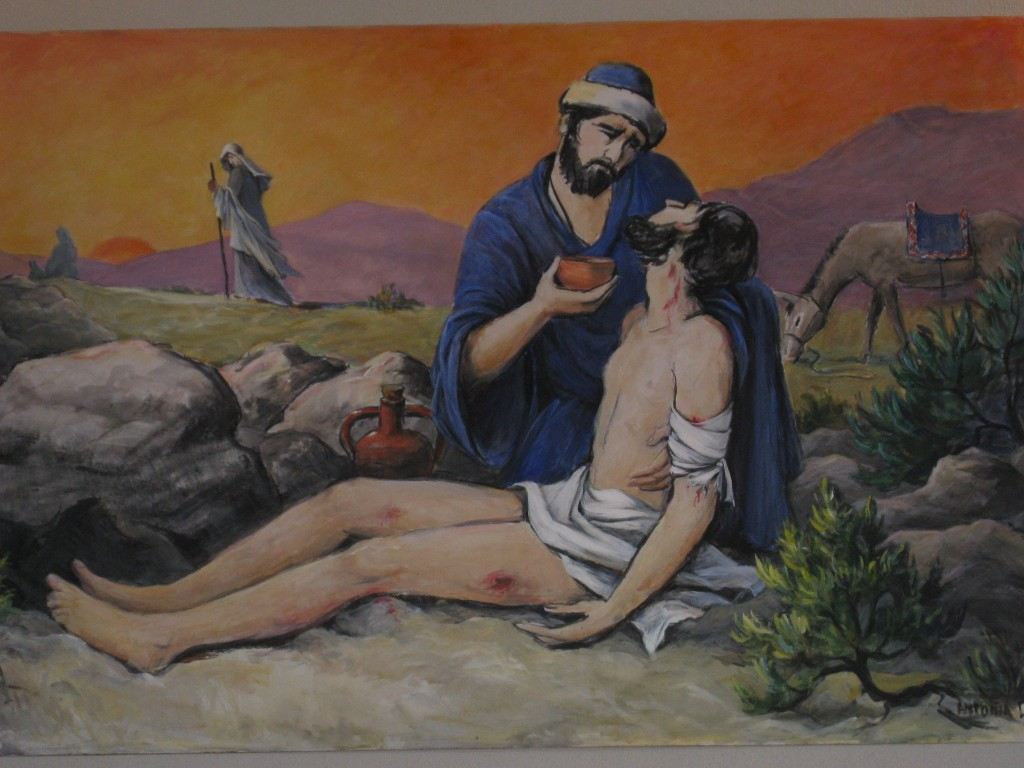 The good Samaritan. By artist Antonia Lanik Gabanek.