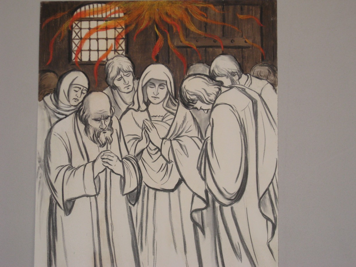 "Pentecost. ""With a sound like a rushing mighty wind the spirit of the lord descended on them like tongues of fire""."
